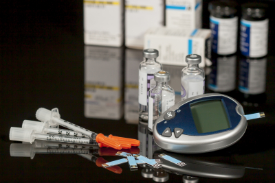 Diabetic supplies including test strips,multi-dose viles of insulin and syringe